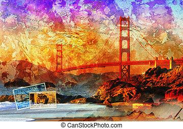 San Francisco bridge, beautiful colorful digital art