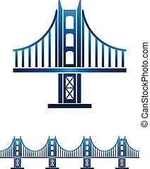 San Francisco bridge seamless profile. Vector graphic design illustration
