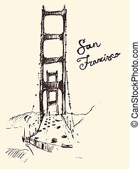 San Francisco Bridge Vintage Engraved Illustration