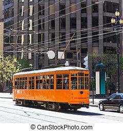San Francisco Cable car Tram in Market Street California -...