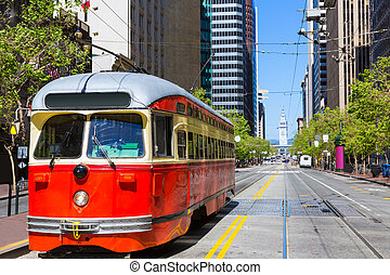 San Francisco Cable car Tram in Market Street California - ...
