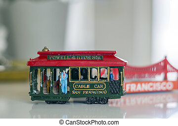san francisco, cablegrafíe coche, miniatura