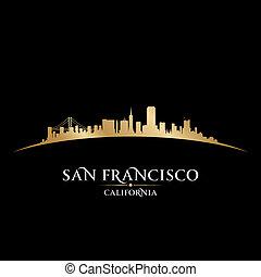 san francisco, californië, stad skyline, silhouette.,...