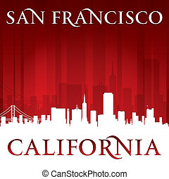 San Francisco California city skyline silhouette red background