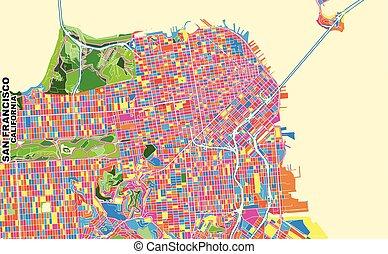 San Francisco, California, U.S.A., colorful vector map