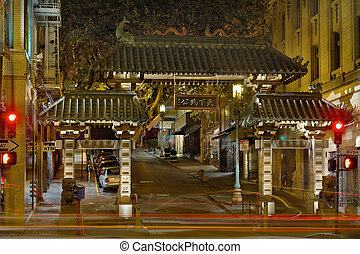 San Francisco Chinatown Gate at Night - Chinatown Gate in...