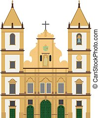 San Francisco Church, Salvador de Bahia, Brazil. Isolated on white background vector illustration.