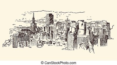San Francisco City Architecture Vintage Engraved