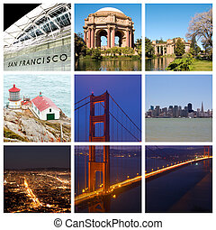 San Francisco city collage - San Francisco city landmarks...