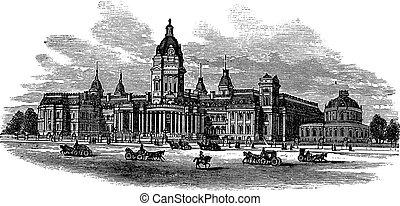 San Francisco City Hall in America vintage engraving - San...