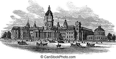 San Francisco City Hall in America, during the 1890s, vintage engraving. Old engraved illustration of San Francisco City Hall with moving carts in front.