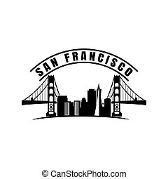 San Francisco city illustration with most famous landmarks made in silhouette style