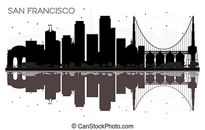 San Francisco City skyline black and white silhouette with reflections.