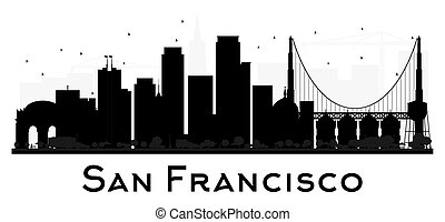 San Francisco City skyline black and white silhouette.