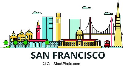 San Francisco city skyline. Buildings, streets, silhouette, architecture, landscape, panorama, landmarks. Editable strokes. Flat design line vector illustration concept. Isolated icons on background