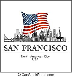 San Francisco city skyline detailed silhouette on USA flag. Vector illustration.