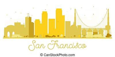 San Francisco City skyline golden silhouette.