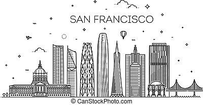 San Francisco city skyline vector background