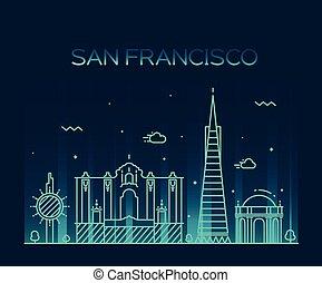 San Francisco City Trendy vector line art style