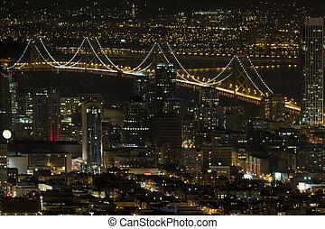 san francisco, cityscape, à, oakland aboient pont, soir