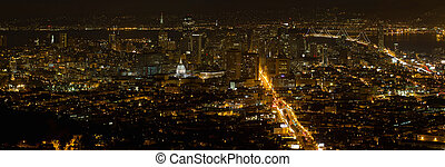 San Francisco Cityscape at Night Panorama