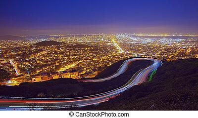 san francisco, cityscape, nacht