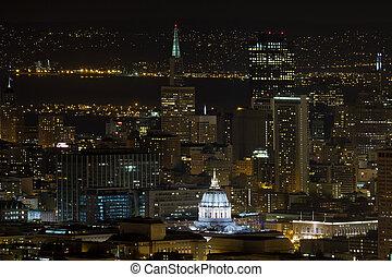 San Francisco Cityscape with City Hall at Night