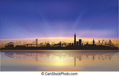 San Francisco colorful skyline sunset