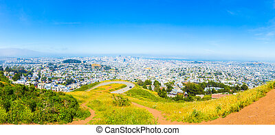 San Francisco Downtown Cityscape High Angle Day