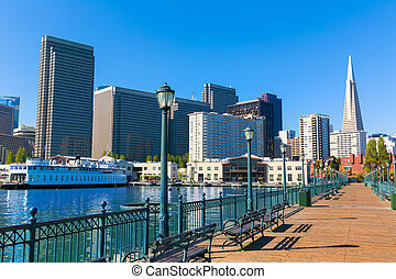 San Francisco downtown from pier 7 California - San...