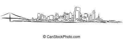 San Francisco Downtown Outline Sketch, Hand-drawn Vector Artwork