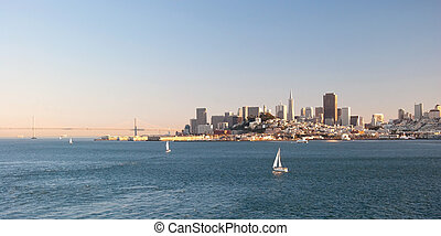 San Francisco downtown skyline from Alcatraz island