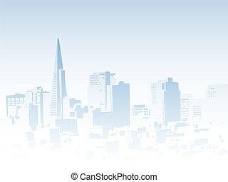Foggy skyline silhouette of the city of San Francisco, California, USA.