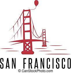 san francisco golden gate bridge and balloon vector design template illustration