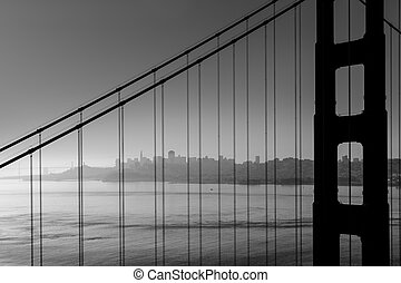 San Francisco Golden Gate Bridge black and white California ...
