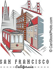 San Francisco Golden gate bridge ,buildings and tram
