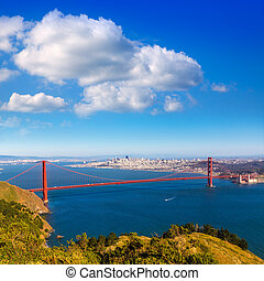 San Francisco Golden Gate Bridge Marin headlands California...