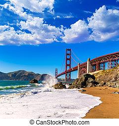 San Francisco Golden Gate Bridge Marshall beach California...