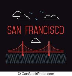 San Francisco Golden Gate Bridge. San Francisco vector landmark illustration. Line flat style. San Francisco view.
