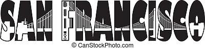 San Francisco California Golden Gate Bridge Text Outline Black and White Illustration
