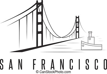 san francisco golden gate bridge vector design template illustration