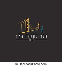 san francisco golden gate bridge with beer bottles vector design template