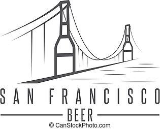 san francisco golden gate bridge with beer bottles vector design template