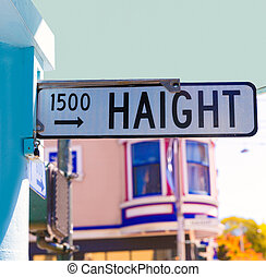 San Francisco Haight Ashbury street sign junction California...
