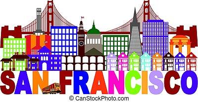 san francisco horisont, och, text, färgrik, illustration