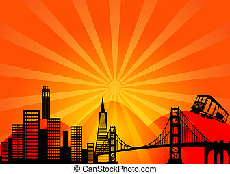 san francisco, kalifornien, stad horisont, clipart