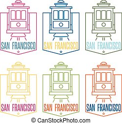 san francisco landmark tram line art vector design template