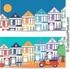 San Francisco landmarks horizontal flat design vector banners