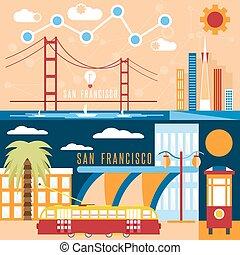 San Francisco landmarks horizontal flat design vector...