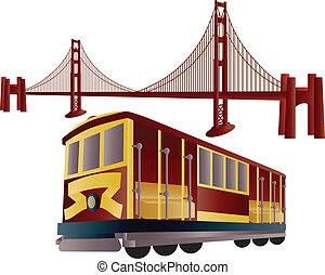 san francisco, linbanevagn, och, guldgul grind överbrygg